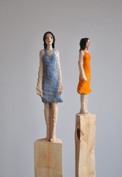 Blaues Kleid, Gelbes Kleid, Linde, Pigment, 2012, 160 cm