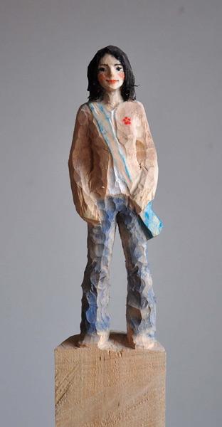Blaue Tasche, Linde, Pigment, 2012, 160 cm
