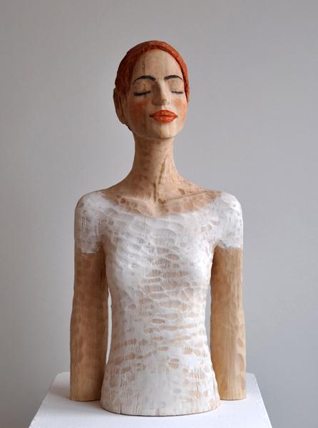 ohne Titel, Linde, Pigment, 2012, 85 cm